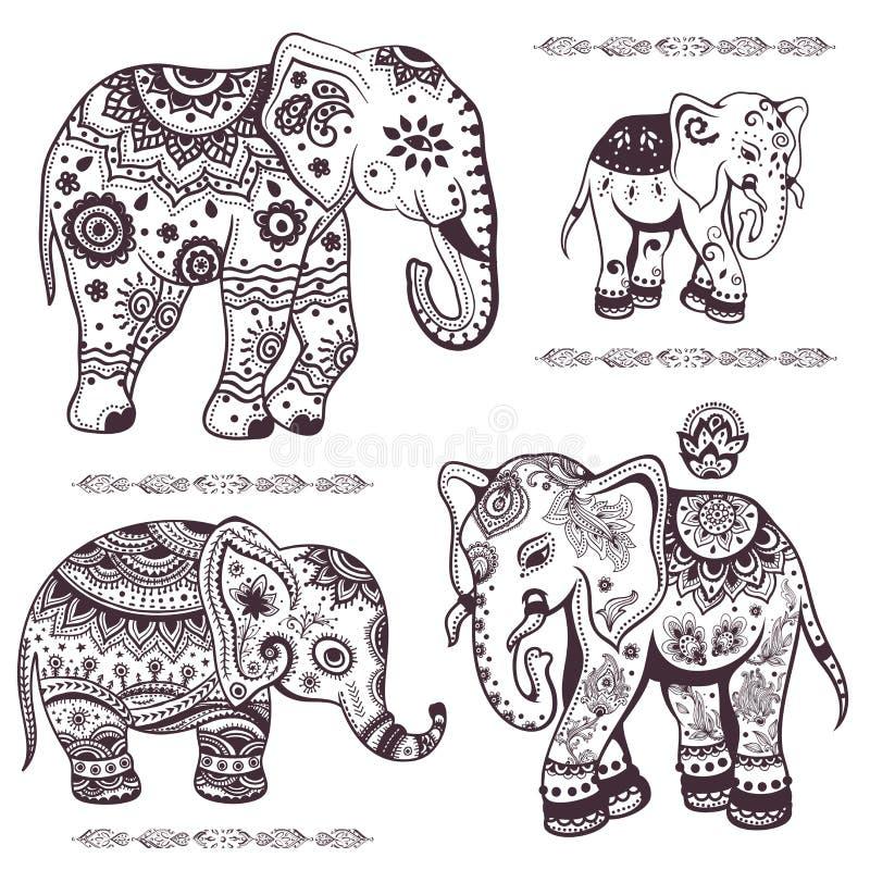 Insieme degli elefanti etnici disegnati a mano illustrazione vettoriale