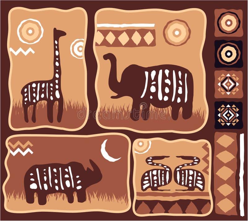 Insieme degli elementi africani di disegno illustrazione di stock