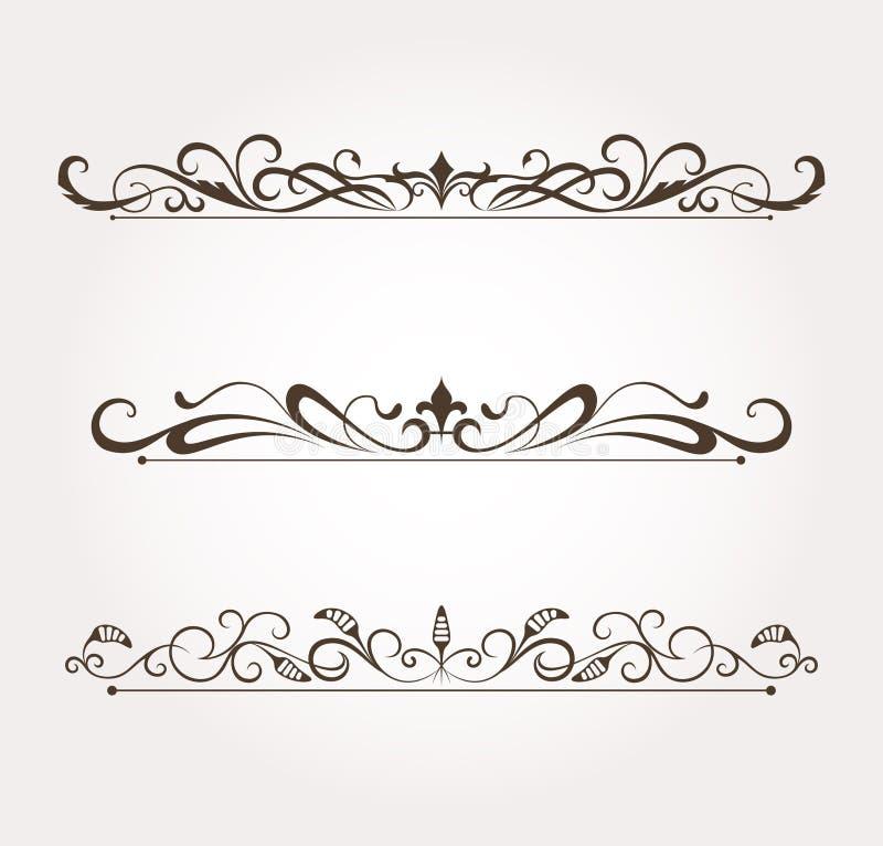 Insieme degli elementi calligrafici di disegno floreale illustrazione di stock