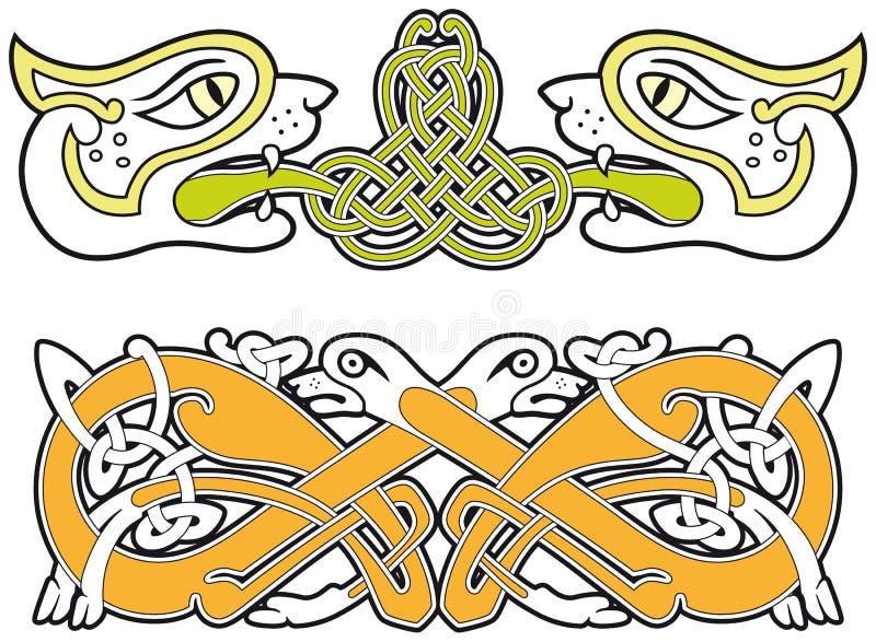 Insieme degli elementi celtici di disegno degli animali royalty illustrazione gratis