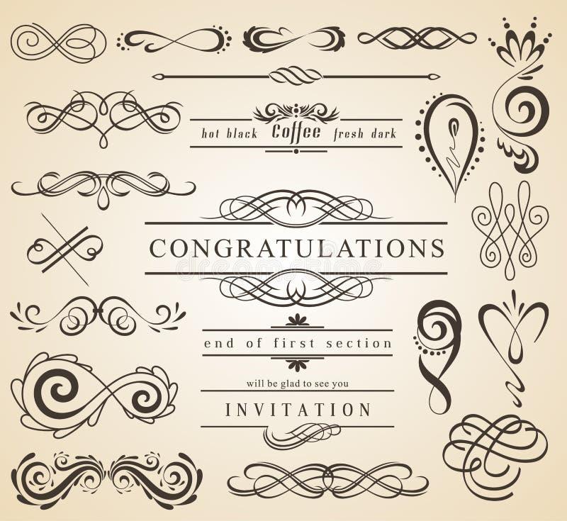 Insieme degli elementi d'annata delle decorazioni Ornamenti e pagine calligrafici di Flourishes con il posto per il vostro testo  illustrazione di stock