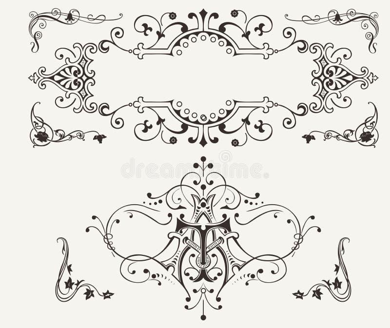 Insieme degli elementi d'annata di progettazione illustrazione vettoriale
