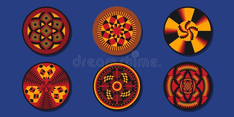Insieme degli elementi decorativi africani Coperte etniche illustrazione vettoriale