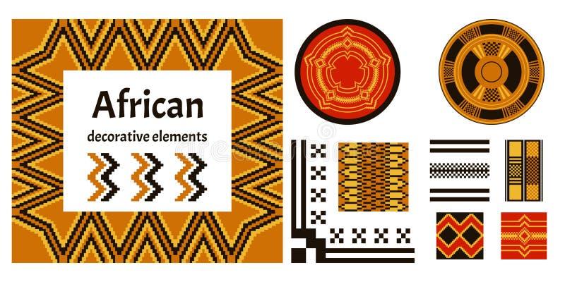 Insieme degli elementi decorativi africani Progettazione geometrica Pri tribale illustrazione di stock