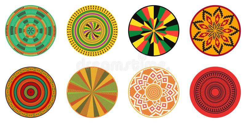 Insieme degli elementi decorativi africani Stampa tribale illustrazione di stock
