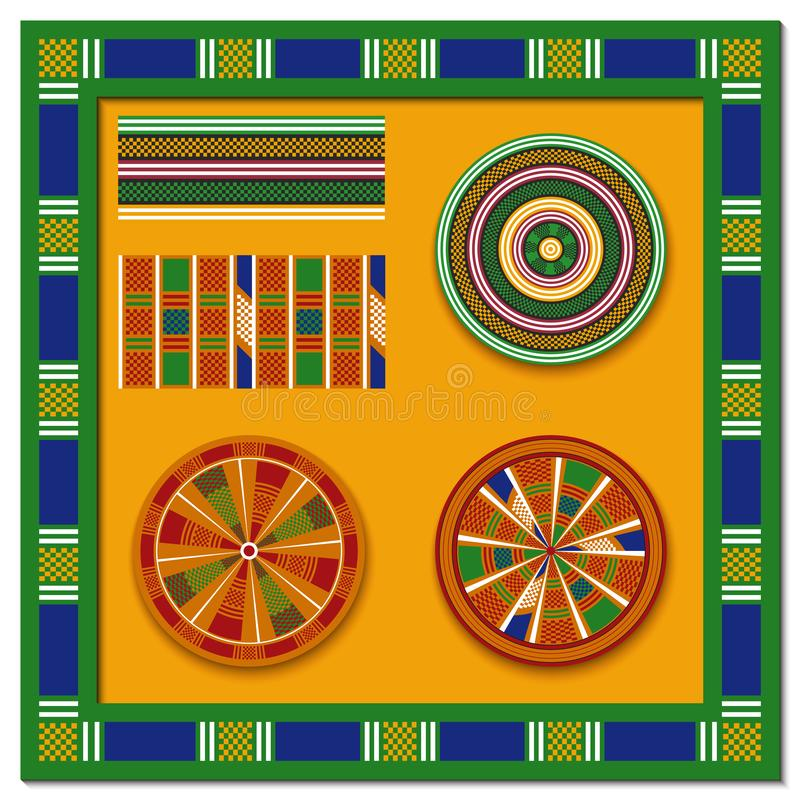 Insieme degli elementi decorativi africani Stampa tribale illustrazione vettoriale