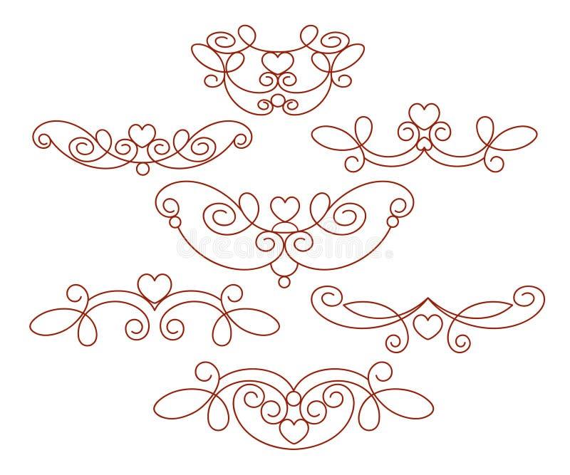 Insieme degli elementi decorativi con cuore divisori Vettore Ben costruito per la pubblicazione facile illustrazione vettoriale