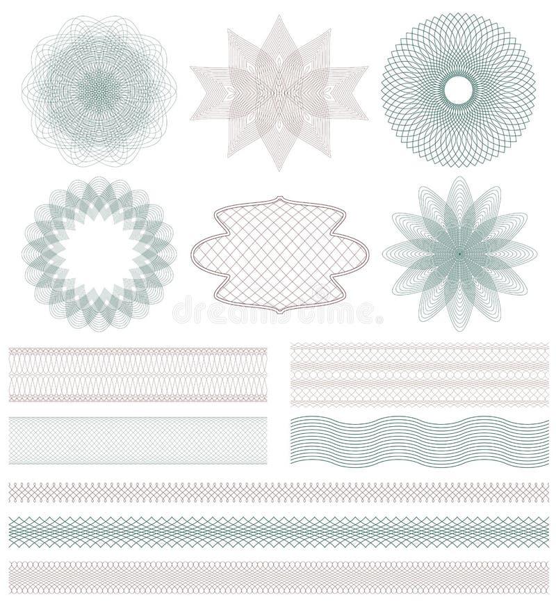 Insieme degli elementi decorativi della rabescatura illustrazione vettoriale