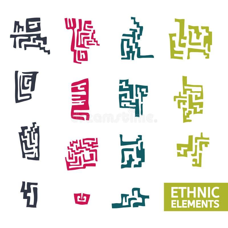 Insieme degli elementi decorativi nello stile etnico royalty illustrazione gratis