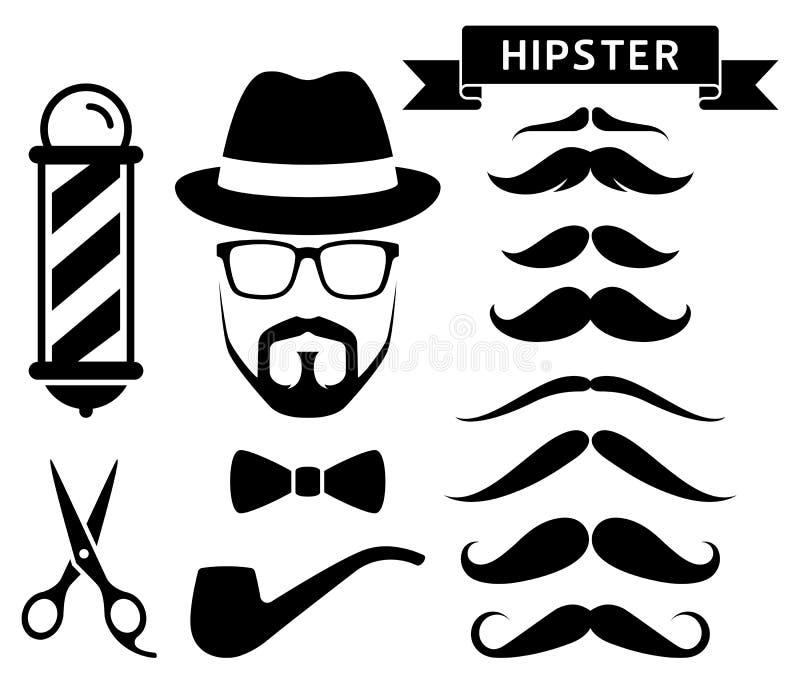 Insieme degli elementi del barbiere dei pantaloni a vita bassa illustrazione di stock
