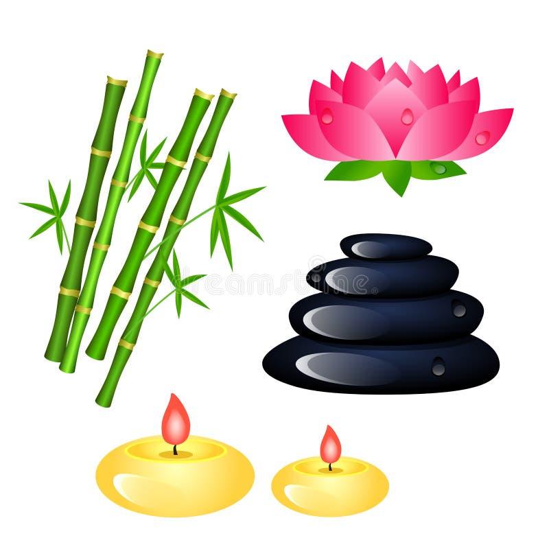 Insieme degli elementi del centro della stazione termale con bambù, le candele, Lotus e la pietra royalty illustrazione gratis