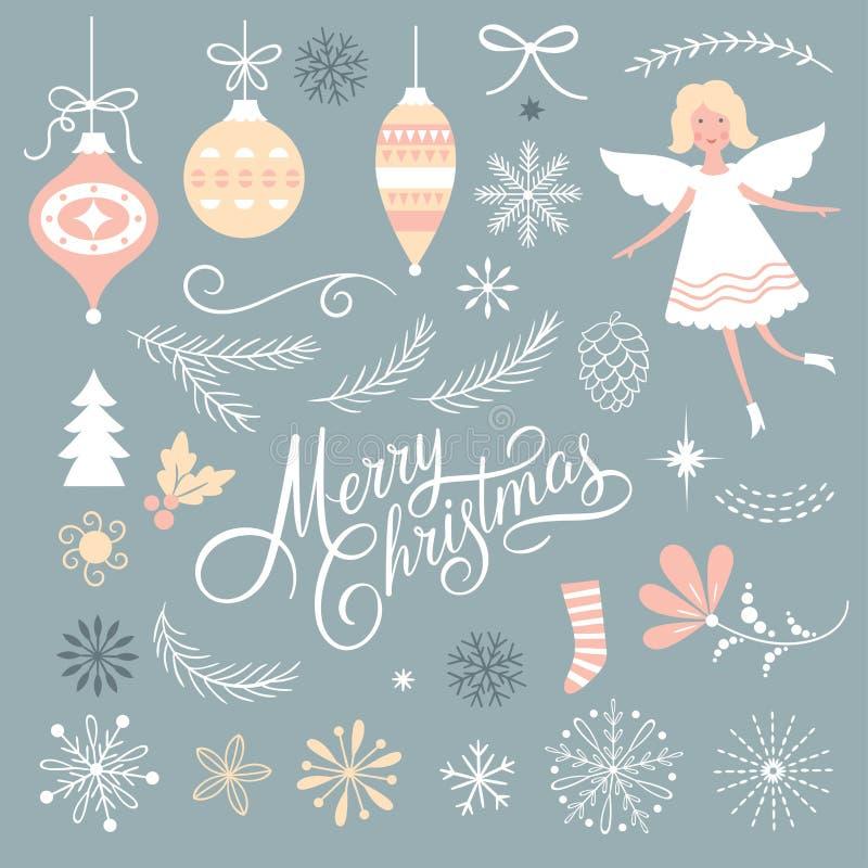 Insieme degli elementi del grafico di Natale illustrazione di stock
