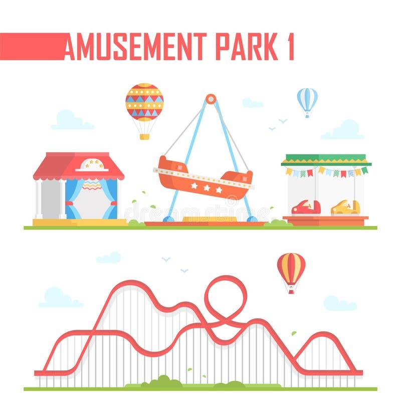 Insieme degli elementi del parco di divertimenti - illustrazione moderna di vettore illustrazione di stock