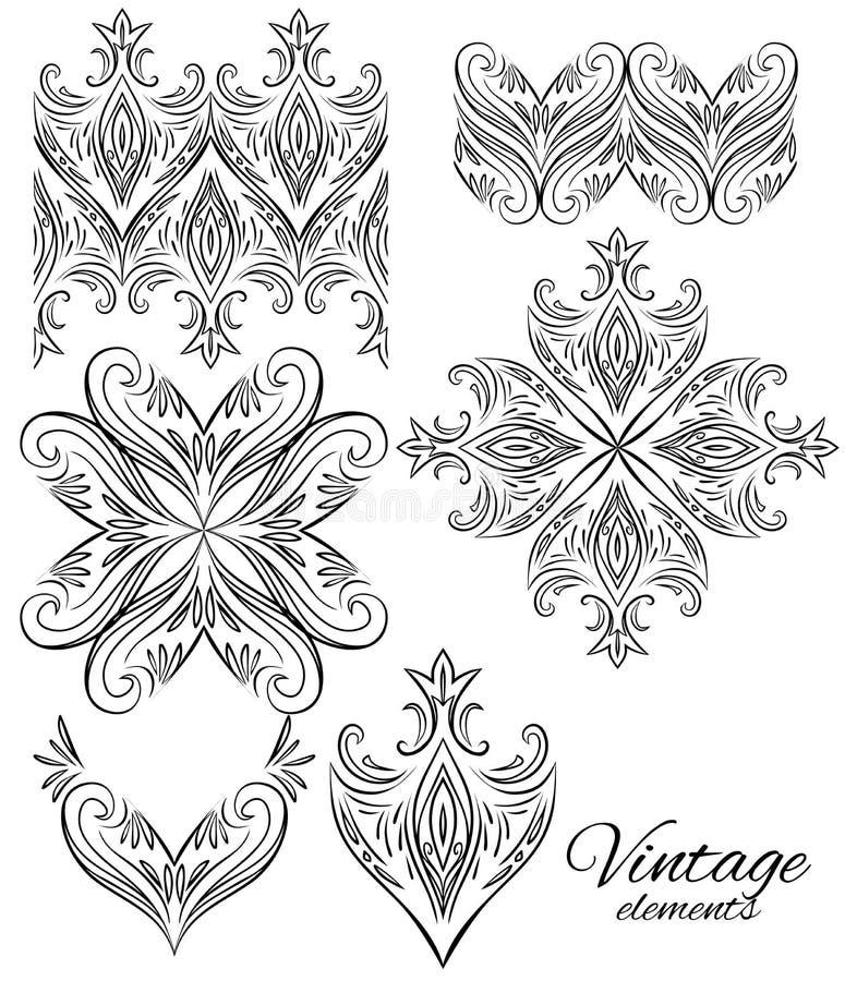 Insieme degli elementi dell'annata Confini senza cuciture, ornamenti circolari royalty illustrazione gratis