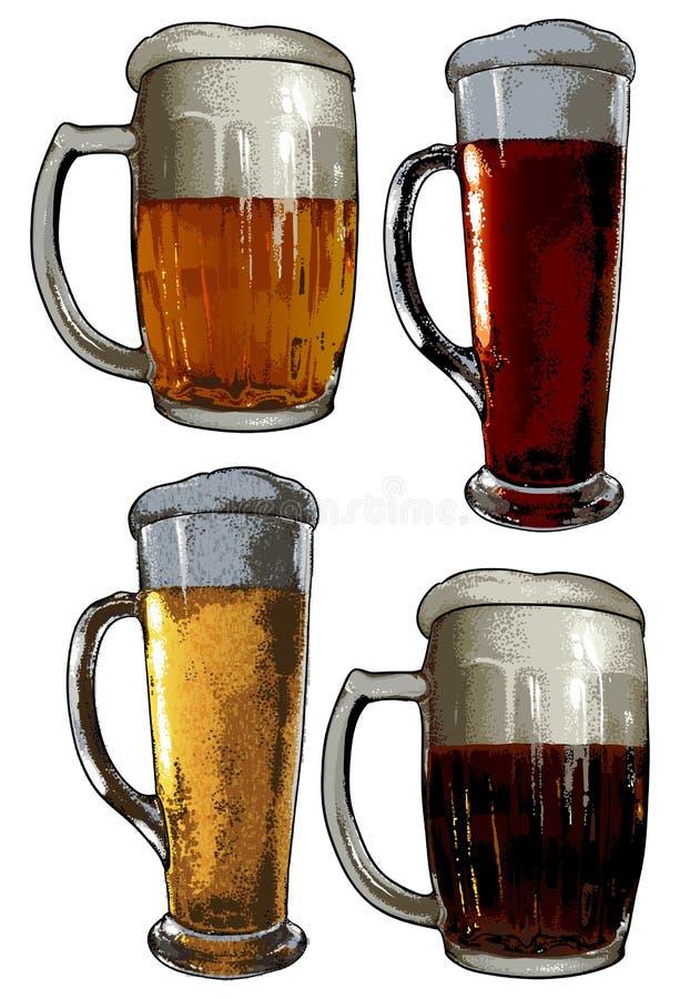 Insieme degli elementi della birra illustrazione di stock