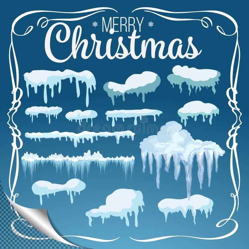 Insieme degli elementi della neve, dei cappucci della neve, dei cumuli di neve isolati su fondo blu per progettazione e di una de illustrazione di stock