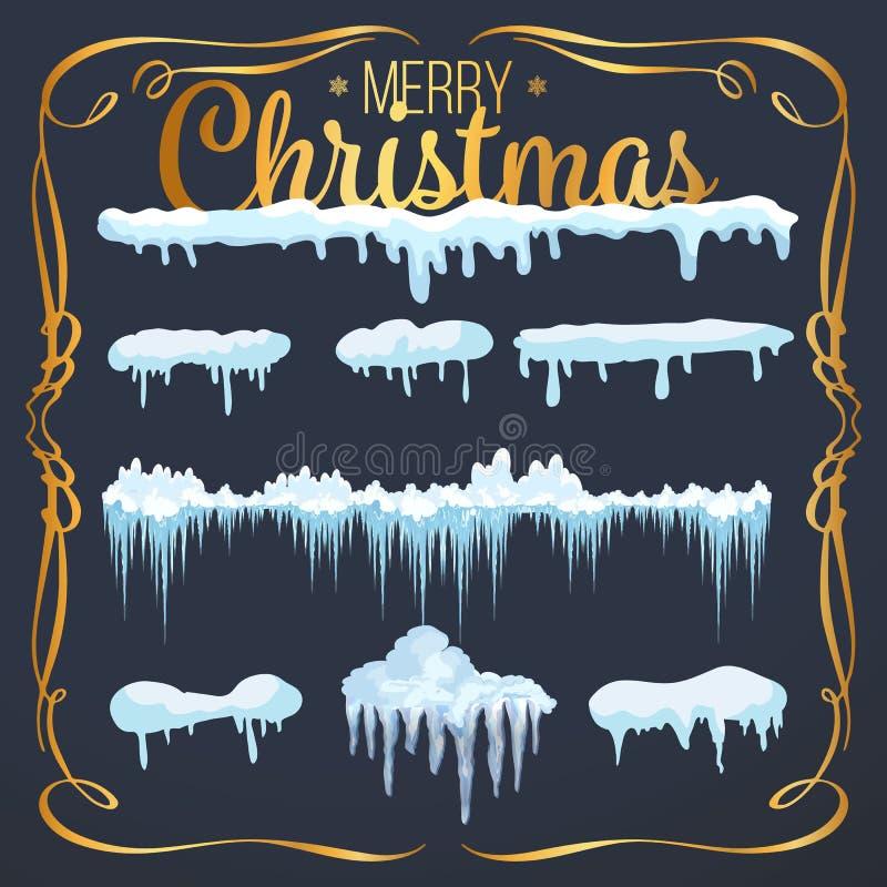 Insieme degli elementi della neve, dei cappucci della neve, dei cumuli di neve isolati su fondo blu per progettazione e di una de royalty illustrazione gratis