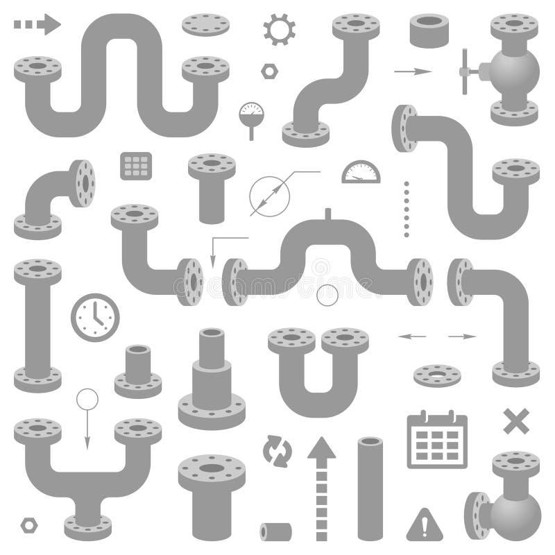 Insieme degli elementi della rete di tubazioni Illustrazione moderna di vettore per progettazione di schemi illustrazione vettoriale