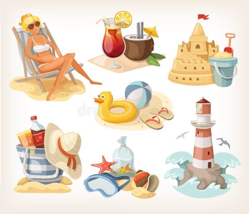Insieme degli elementi della spiaggia di estate