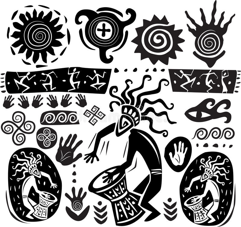 Insieme degli elementi di arte primitiva illustrazione vettoriale