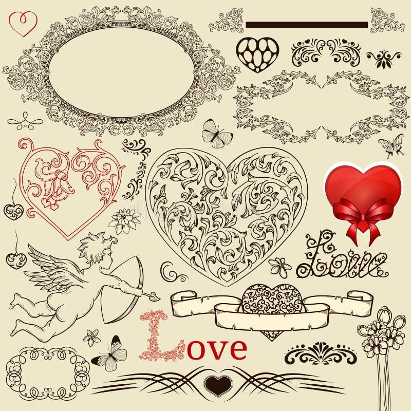Insieme degli elementi di disegno del biglietto di S. Valentino royalty illustrazione gratis