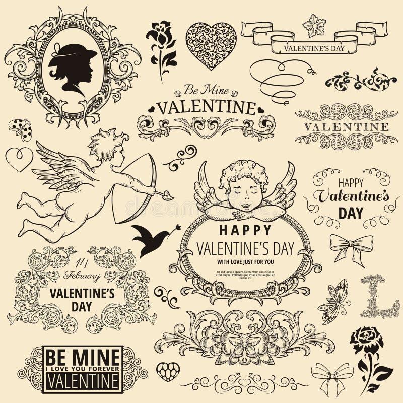 Insieme degli elementi di disegno del biglietto di S. Valentino illustrazione di stock