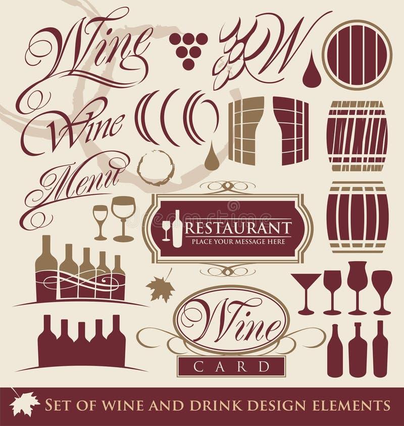 Insieme degli elementi di disegno del vino. royalty illustrazione gratis