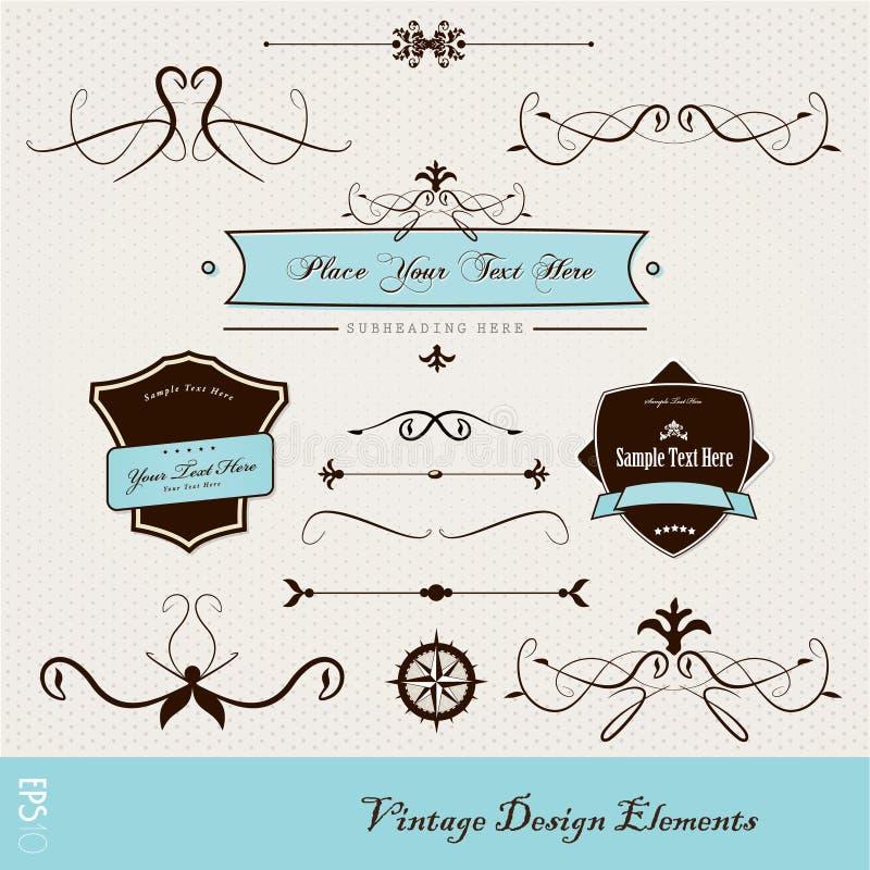 Insieme degli elementi di disegno dell'annata. illustrazione di stock