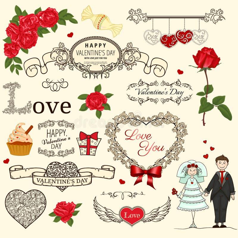 Insieme degli elementi di disegno dell'annata royalty illustrazione gratis