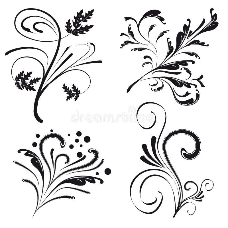 Insieme degli elementi di disegno floreale illustrazione vettoriale