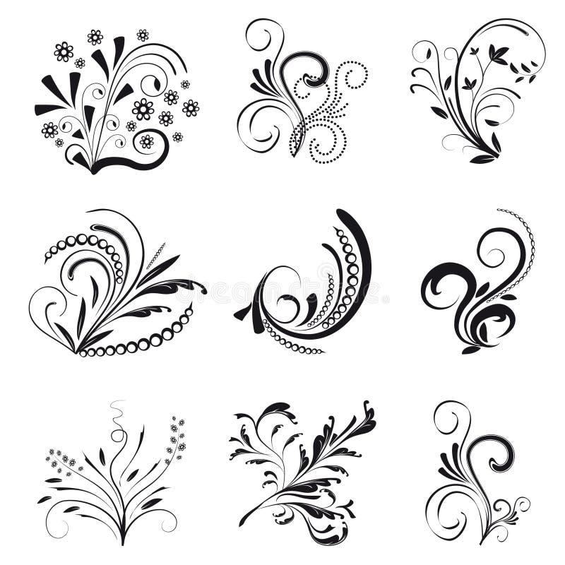 Insieme degli elementi di disegno floreale royalty illustrazione gratis
