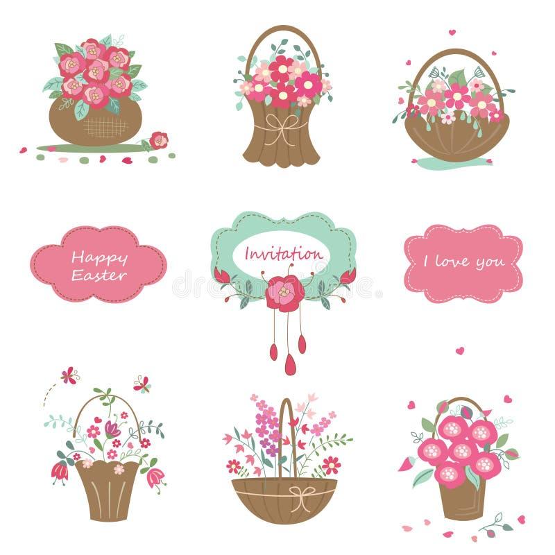 Insieme degli elementi di disegno floreale illustrazione di stock