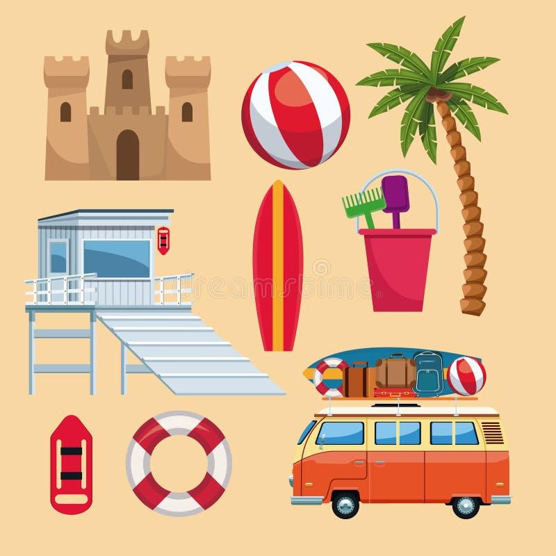 Insieme degli elementi di estate royalty illustrazione gratis