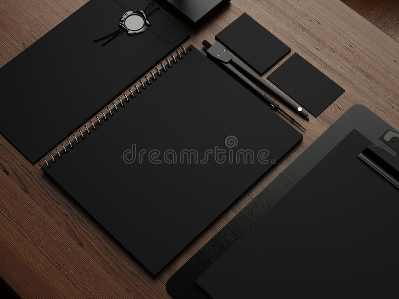Insieme degli elementi di identità neri 3d rendono illustrazione di stock