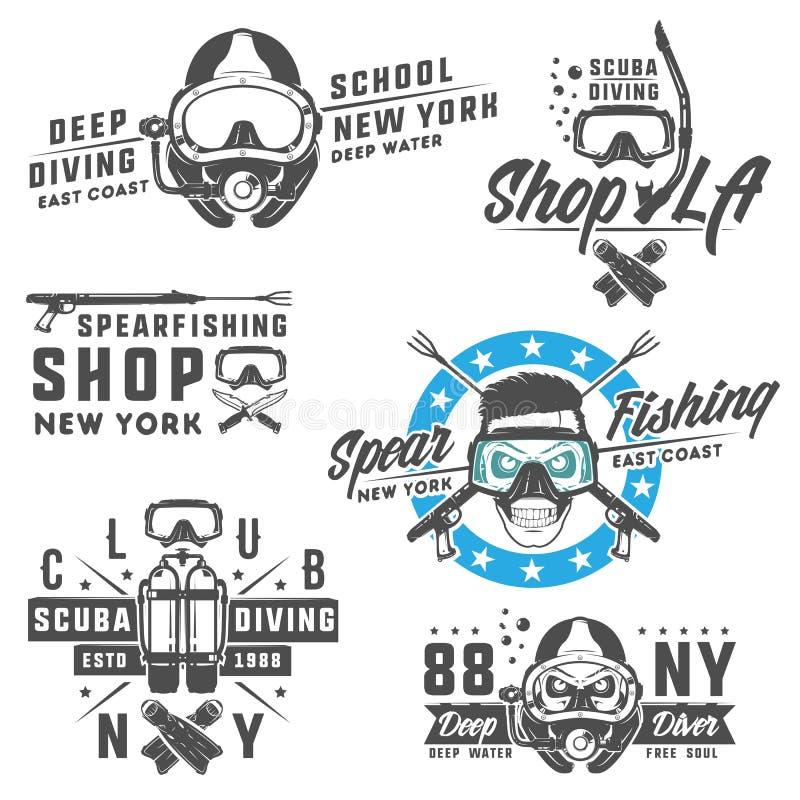 Insieme degli elementi di immersione con bombole per gli emblemi, il logo, le stampe, il tatuaggio, l'etichetta e la progettazion illustrazione vettoriale