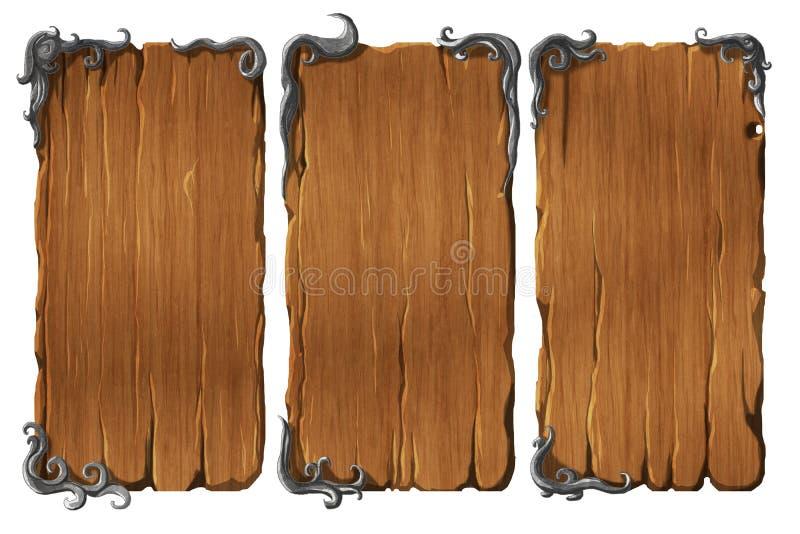 Insieme degli elementi di legno dell'interfaccia illustrazione di stock