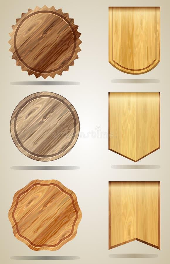 Insieme degli elementi di legno per progettazione illustrazione di stock