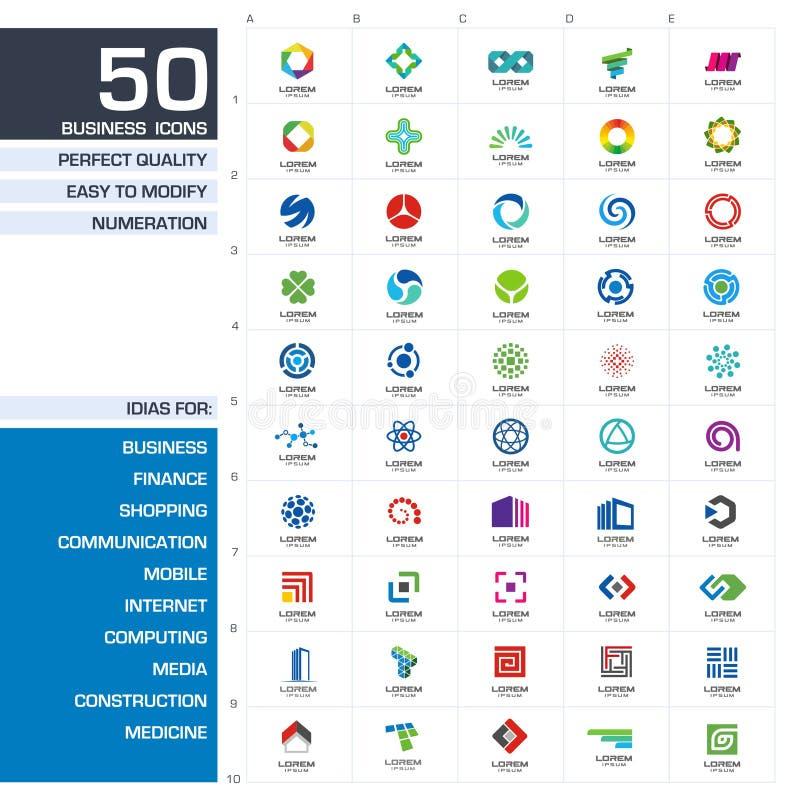 Insieme degli elementi di progettazione dell'icona Idee astratte di logo per la società di affari Finanza, comunicazione, eco, te illustrazione di stock