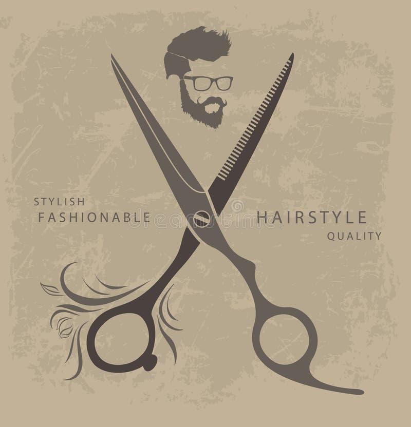 Insieme degli elementi di progettazione di Barber Shop con barbuto illustrazione vettoriale