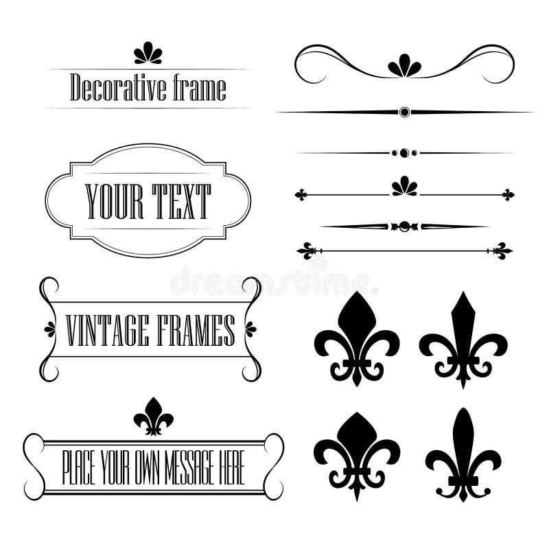 Insieme degli elementi di progettazione di flourish, dei confini e dei telai calligrafici - volume 3 di giglio araldico royalty illustrazione gratis