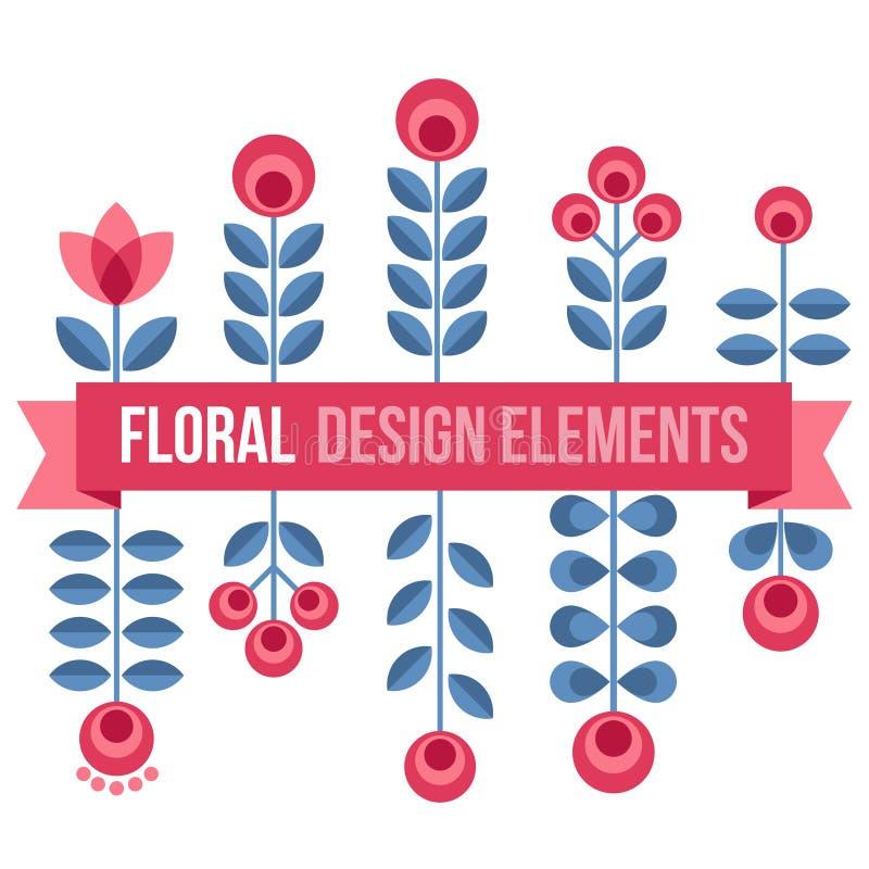 Insieme degli elementi di progettazione - retro fiori illustrazione vettoriale