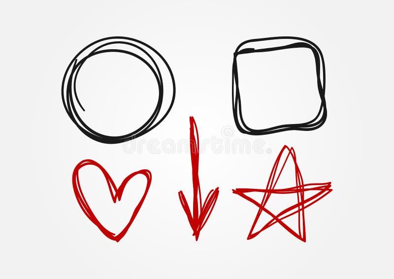 Insieme degli elementi di scarabocchio disegnati a mano Cerchio, quadrato, cuore, freccia, stella illustrazione vettoriale