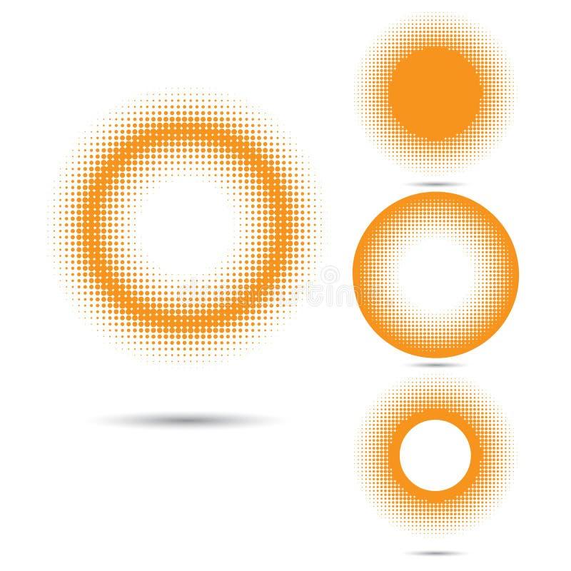 Insieme degli elementi di semitono astratti di progettazione, forma del cerchio illustrazione vettoriale