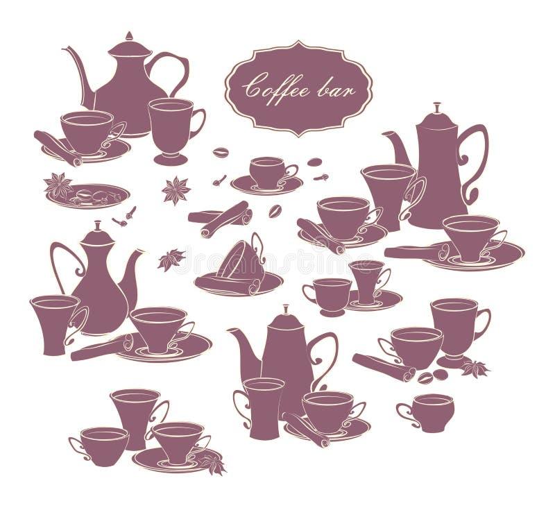 Insieme degli elementi di vettore delle caffettiere, delle tazze e delle spezie illustrazione di stock