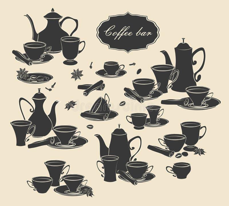Insieme degli elementi di vettore delle caffettiere, delle tazze e delle spezie royalty illustrazione gratis
