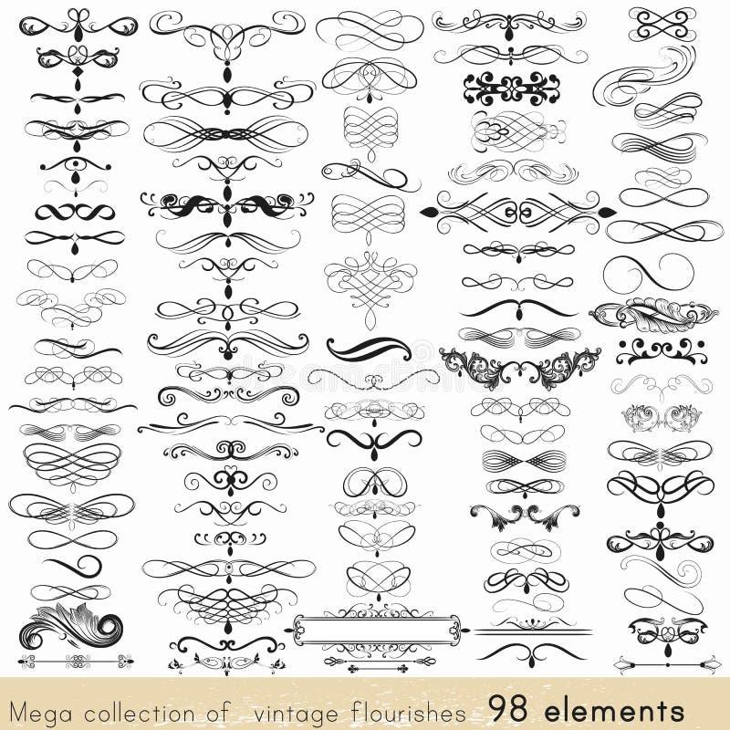 Insieme degli elementi di vettore e delle decorazioni calligrafici della pagina royalty illustrazione gratis