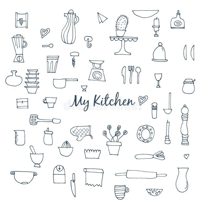Insieme degli elementi disegnati a mano della cucina per cuocere royalty illustrazione gratis
