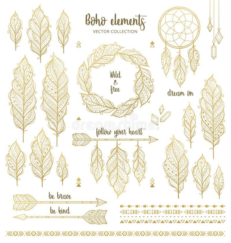 Insieme degli elementi disegnati a mano di stile di boho nel colore dorato illustrazione di stock
