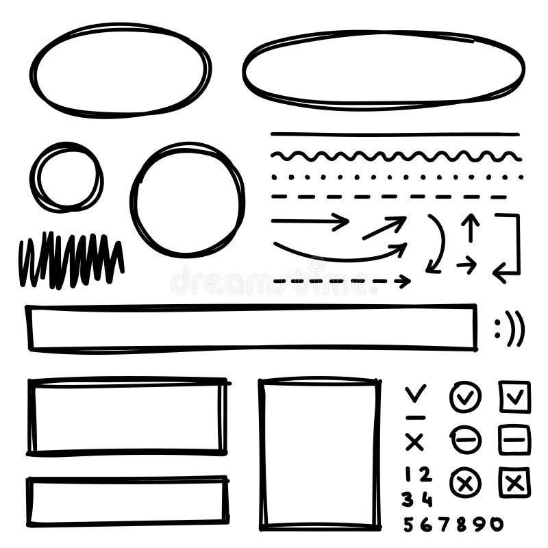 Insieme degli elementi disegnati a mano per la selezione del testo illustrazione di stock