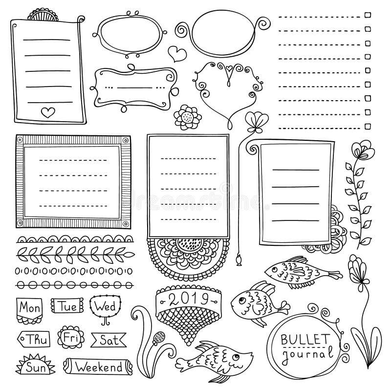 Insieme degli elementi disegnati a mano svegli dei journal's della pallottola isolati su fondo bianco Raccolta dei telai di sca royalty illustrazione gratis